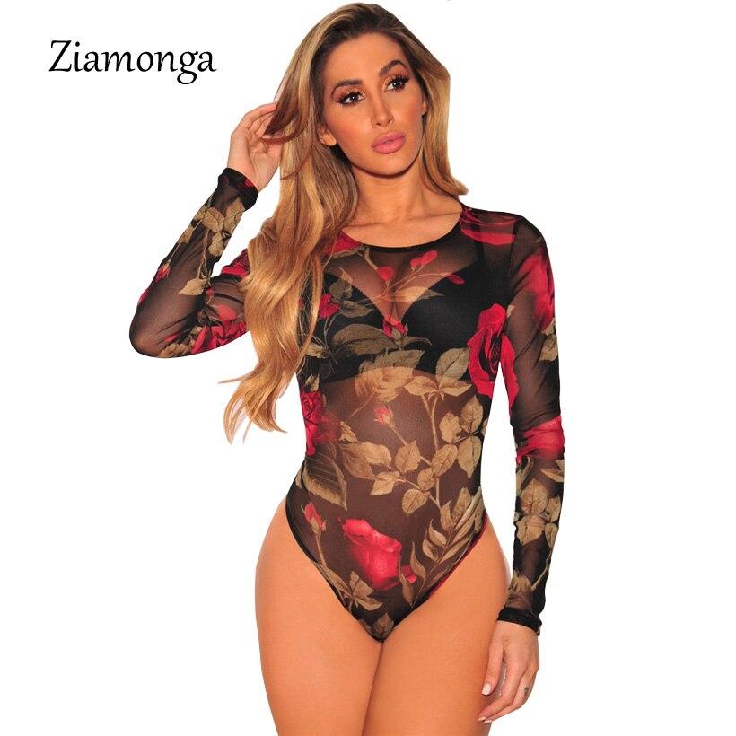 Ziamonga Women Autumn Floral Print Bodysuit Tops Slim Long -7779