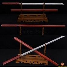 Japanese Samurai Katana Sword Ninja Damascus Steel Zatoichi Red Wooden Shirasaya Full Tang Straight Blade Katanas Sharp Handmade