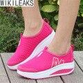 2016 Nuevas Mujeres de La Manera Ocasional de la Impresión Floral de Cuero Plataforma Zapatos Evelator Mujeres Columpio Plataformas Shoes Zapatillas Deportivas Mujer