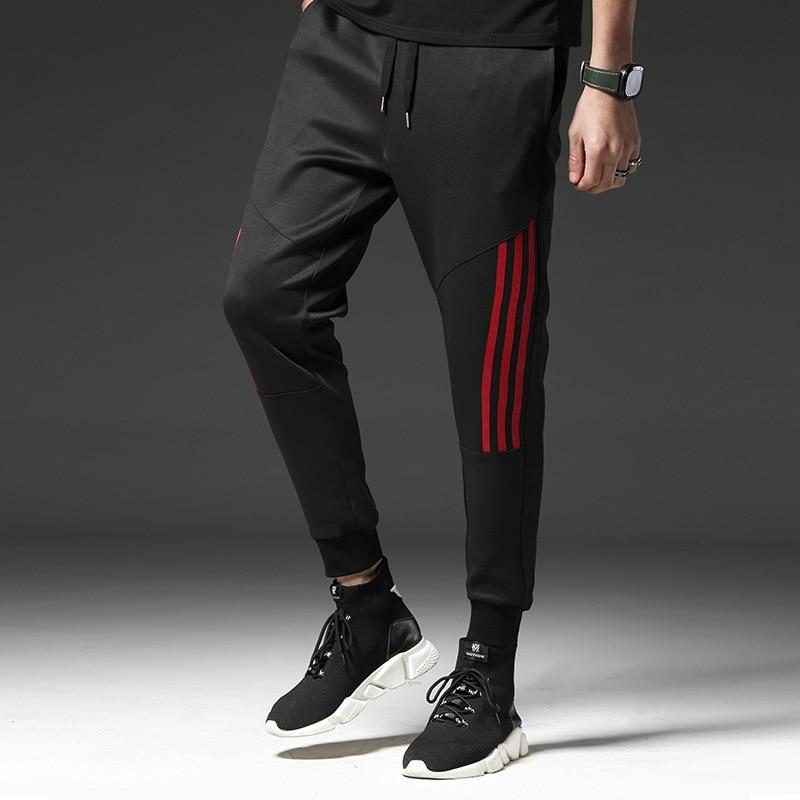 Sport 2019 Casual Pants Men Sweat Pants Stripe Male Cotton Sportswear Casual Trousers Straight Pants Hip Hop High Street Brand