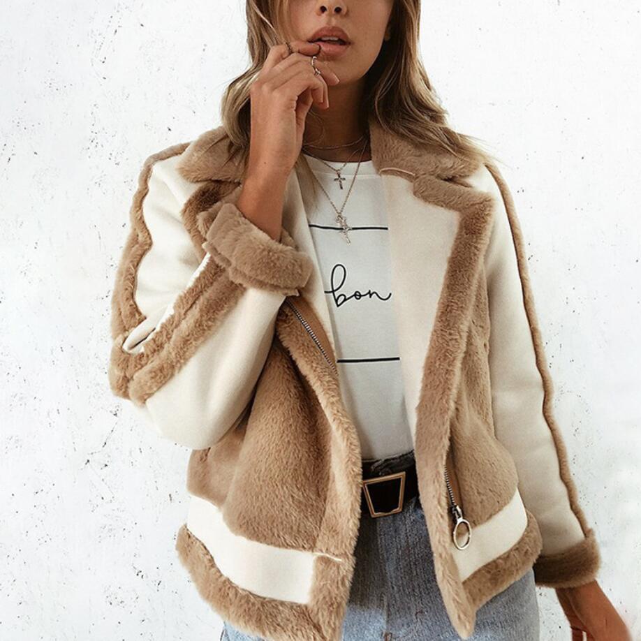 Elegante Casual Coat Abrigos Cremallera Suave De Mujer Chaqueta Invierno  Felpa Abrigo Coffee 2018 Mujeres Fur Faux A1006 Otoño ... 5501958fe2d3