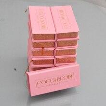 100 шт ложная упаковочная коробка для ресниц с заказом ваш частный логотип поддельная 3d норка для ресниц коробки искусственный фарет полоса розовая квадратная коробка пустая