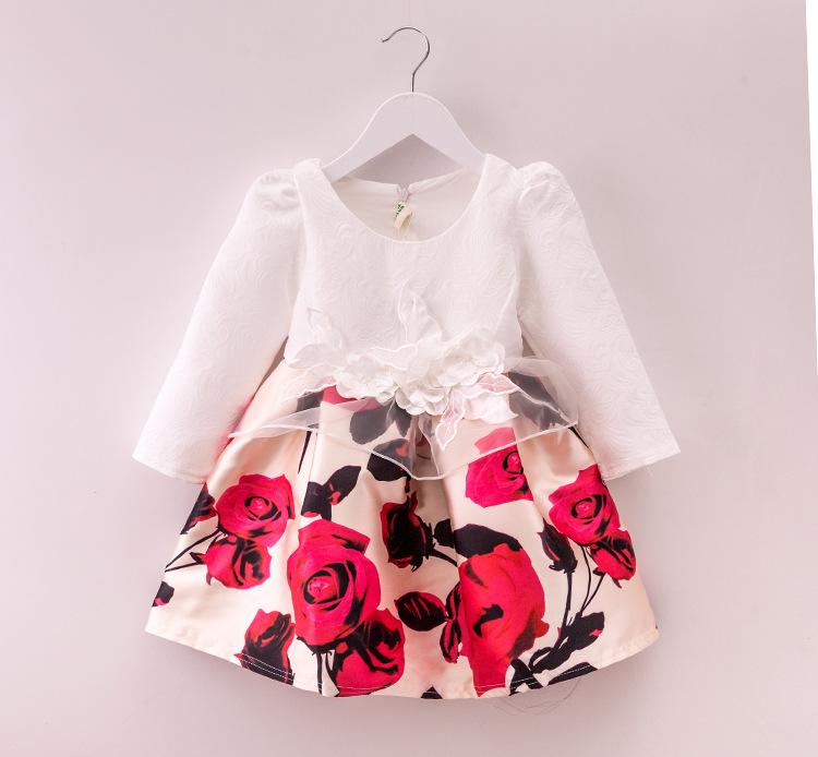 1fb2381aa874 New Design Baby Girls Spring Autumn Dress Long Sleeve O-Neck Printed Dress  Kids School Princess Lace Dresses For Girls Hot Sale