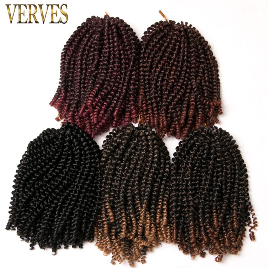 VERVES Crochet Braids Hair Extensions 8 inch,30strands/pack Synthetic Spring Twist ombre braiding hair brown,bug,black