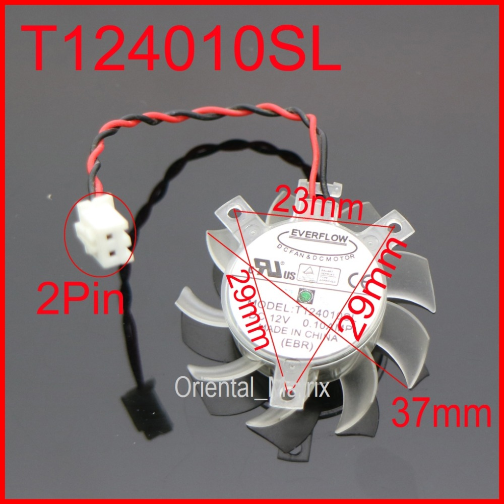 T124010SL 37mm 23x29x29mm 12V 0.10A 2Pin For Gigabyte GT210 Graphics Card Cooler Cooling Fan