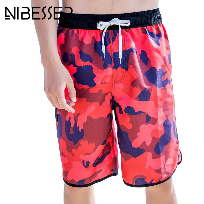 NIBESSER Beach Shorts Men Fashion Camouflage Knee Length Mens Quick-dry Shorts Summer Casual Holiday Loose Comfortable Shorts