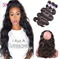 7A Pre Plucked 360 Frontal With Bundles Peruvian Body Wave 360 Lace Virgin Hair Body Wave Human Hair Bundles With 360 Closures