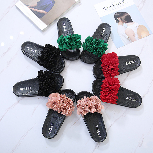 flower design woman flip flops ladies slippers floral beach sandals