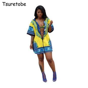 Tsuretode Summer African Print Cardigan Plus Size Dress Women Loose Casual  Split Beach Dress Half