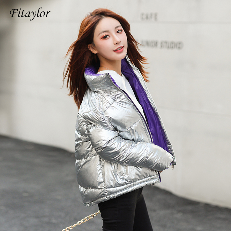 Fitaylor New Women Down Cotton Jackets Winter Short Design Cotton Padded Silver Pink Coats Causual Warm Loose Thick   Parkas