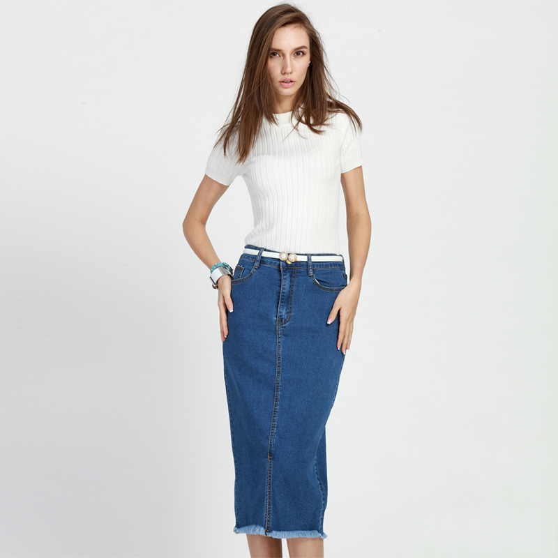 New Casual Long Jean Skirt 2016 Summer Fashion Denim Skirt ...