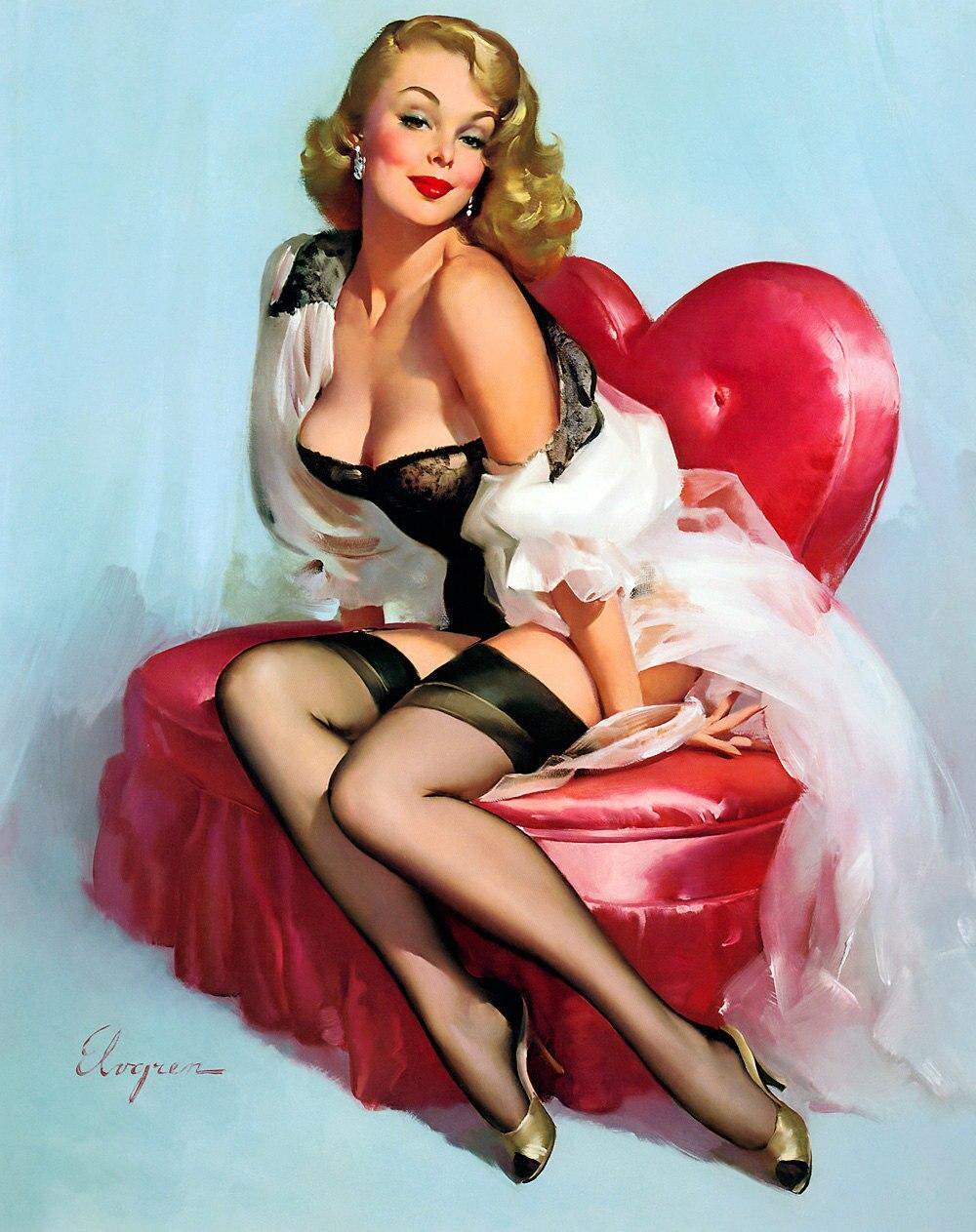 Объемные, пин ап открытка 1960
