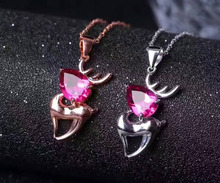 natural red topaz gem pendant S925 silver Natural gemstone Pendant Necklace trendy Cute little deer women girl gift jewelry