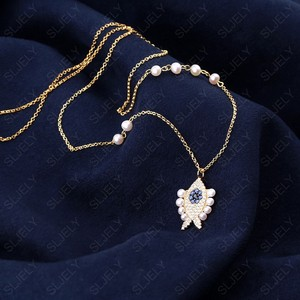 Image 2 - SLJELY collier en argent Sterling 925 pour femmes, pendentif en argent Sterling, couleur or jaune, perle aux yeux porte bonheur, chaîne ajustable, juin