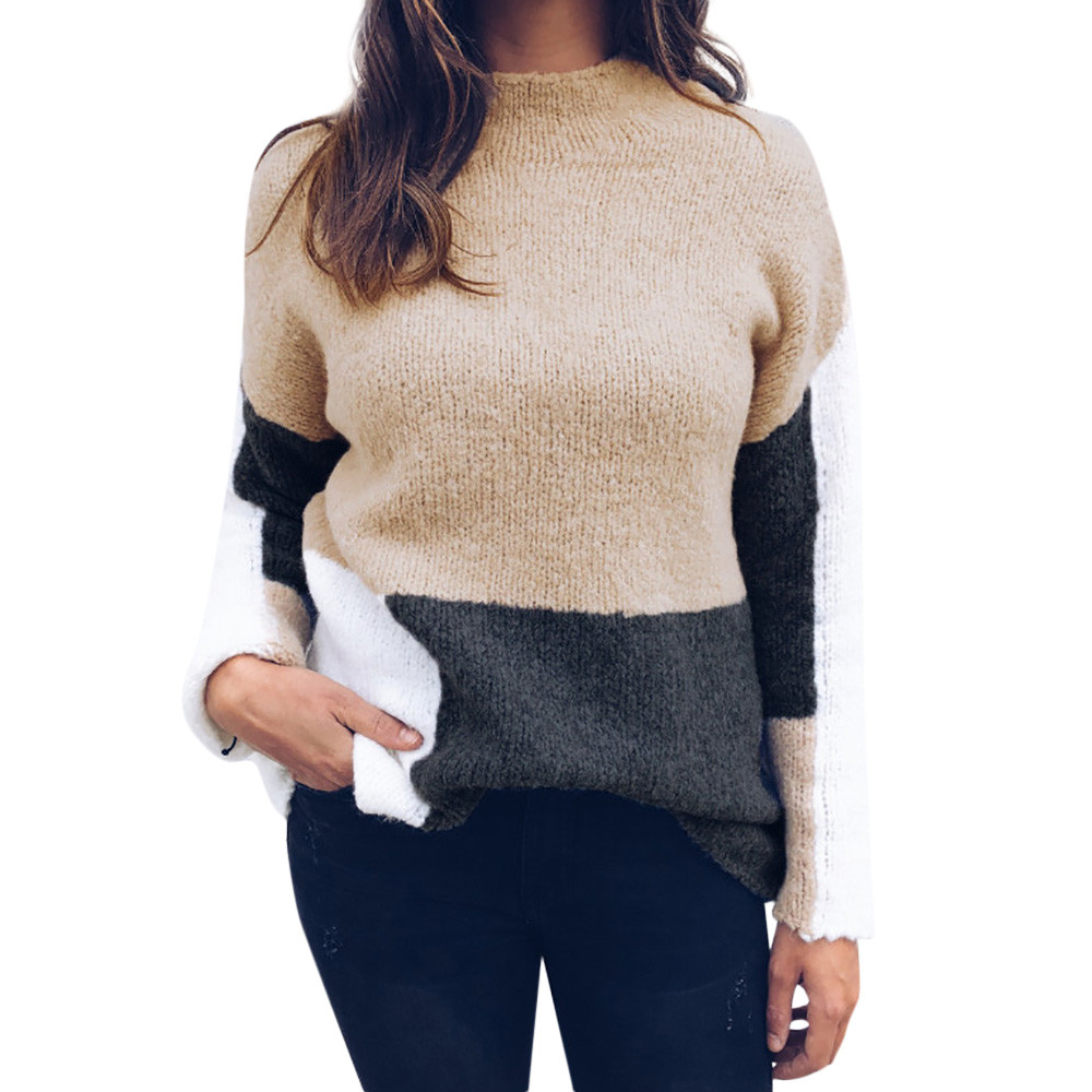 Pull Femme Hiver Dames New Womens Casual Long Sleeve Jumper O Neck Stitching Color Sweaters Blouse Tops