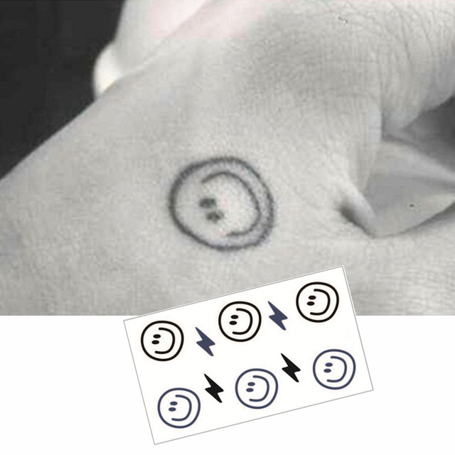 M Theory Smiley Face Flash Tatoos Hand Sticker 1056cm Fake