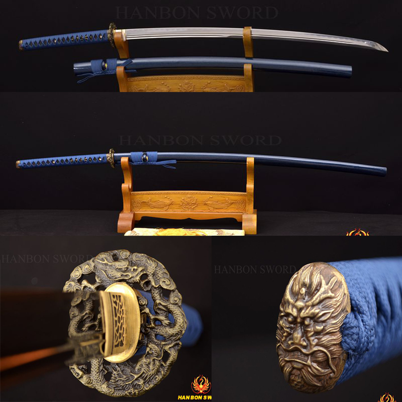 JAPANESE SAMURAI SWORD KATANA FULL TANG HARD WOODEN REAL RAYSKIN WRAPPED SAYA HANDFORGE 1095 CLAY TEMPERED