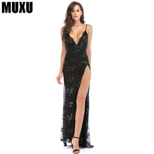 MUXU sexy fashionable women summer dress patchwork sequin glitter black long womens clothing backless elegant ladies dresses new