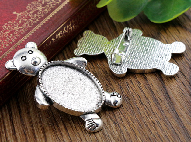 3pcs 18x25mm Inner Size Antique Silver Brooch Pin Bear Style Cameo Cabochon Base Setting (C2-51) 2pcs 20mm inner size antique silver and antique bronze colors plated brooch pin fish style cabochon base setting