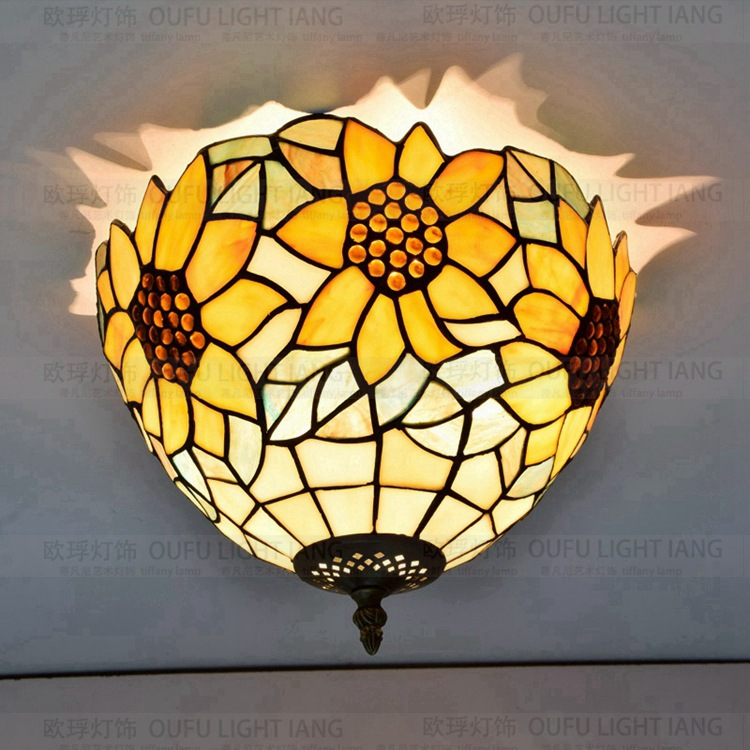 12inch American Pastoral golden tiffany sunflower art glass ceiling light bedroom hallway entrance porch balcony bathroom lamp12inch American Pastoral golden tiffany sunflower art glass ceiling light bedroom hallway entrance porch balcony bathroom lamp