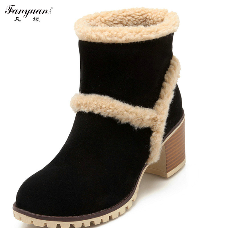 New Fashion Winter Warm Fur Shoes Woman Ankle Boots Sexy Pointed Toe High Heel Boots Skidproof Short Shoes Women snow boots цена