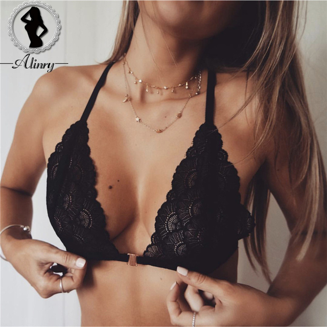 a359aca02d ALINRY Women s Bralette black floral lace sexy bra intimates Brassiere  lingerie thin perspective underwear tops hollow-out bras