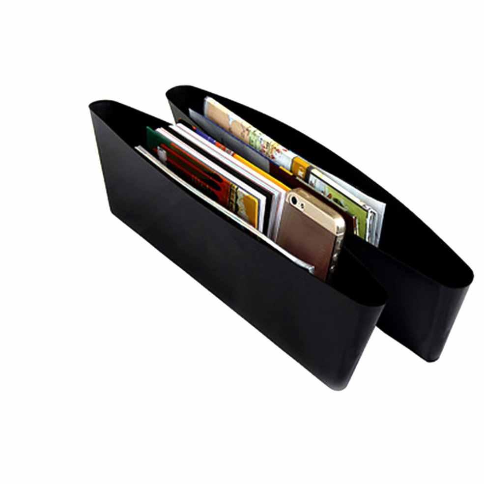 Caja de almacenamiento de coche negro relleno de huecos Organizador de bolsillo de consola de plástico accesorios interiores asiento de coche caída lateral Catcher