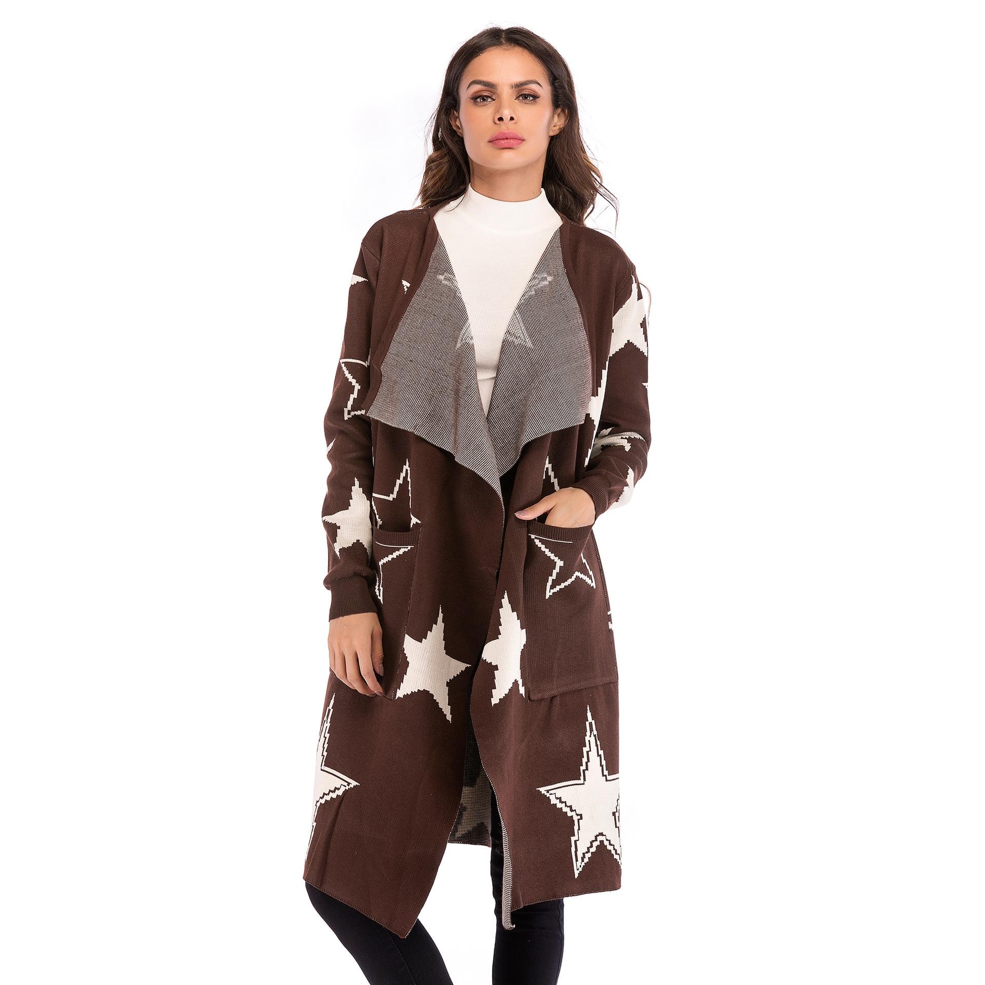 De Bourgogne Tricoté Pour Veste Vêtements 2018 Manteau Et Étoiles Femmes Long Chandail Cardigan Motif Automne Américaines Lâche Européennes EqxdTwnw4