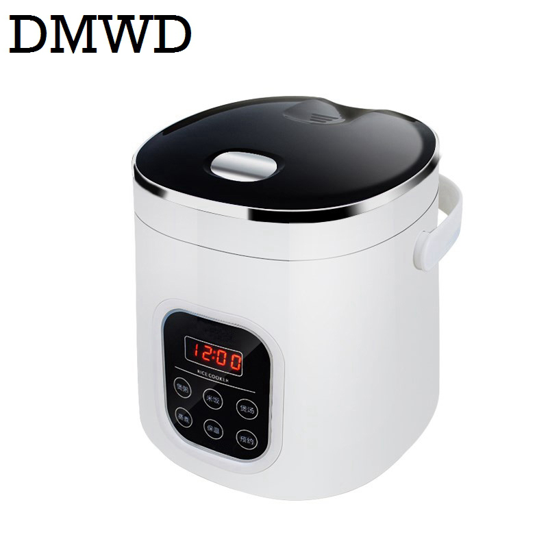 DMWD Electric mini rice cooker car household use Soup Porridge Steamed Egg cooking machine heating lunch box 1.6L 12V 24V 220V 110v 220v dual voltage travel cooker portable mini electric rice cooking machine hotel student multi stainless steel cookers