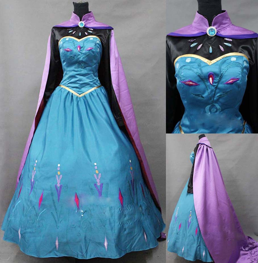 Top Quality Queen Elsa Cosplay Costume Costume Halloween Costumes For Adult Women Fantasy Dress Custom Made