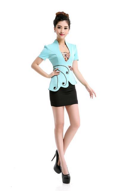 Estilo de verano 2 pastel OL Delgado chaleco de traje de falda Sexy Vestidos de Carrera falda estilo de la oficina uniforme mujeres ropa de trabajo