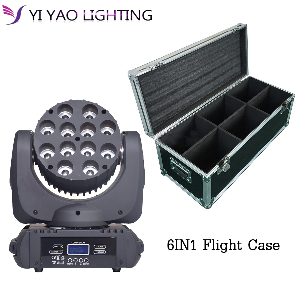 6in1Flight Case 12x12W RGBW 4in1 Moving Head Beam LED With Excellent Pragrams dmx 16CH DJ 6pcs/lot6in1Flight Case 12x12W RGBW 4in1 Moving Head Beam LED With Excellent Pragrams dmx 16CH DJ 6pcs/lot
