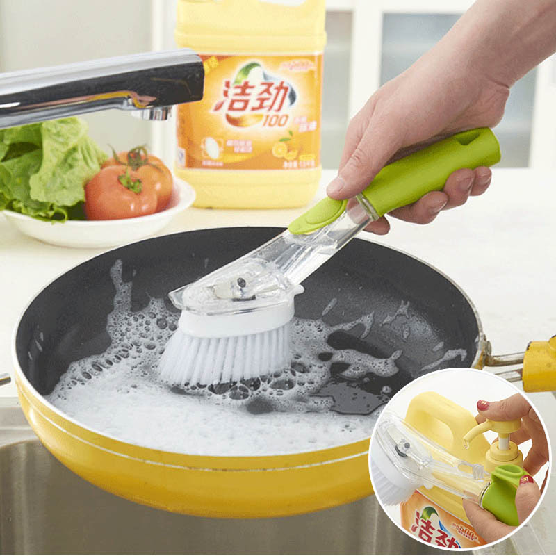 Automatic Liquid Washing Dish Brushes Kitchen Gadgets Cleaning Brush Sink Floor Cleaning Tools Non Stick Oil Scouring Pad|Cleaning Brushes| |  - title=