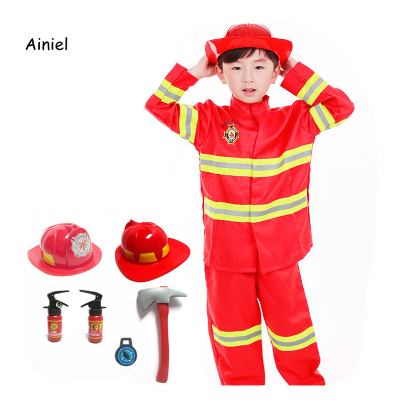 Ainiel High Quality Firefighter Fireman Cosplay Costumes Full set  Christmas Holloween  Party boys girls Kids Children uniforms