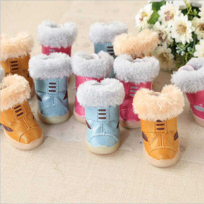 NEW 4Pcs/Set Pet Dog Shoes Small Medium Dogs Boot Cute Eye Design Non Slip for ChiHuaHua 3 Color