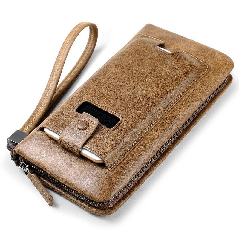 купить Business Large Capacity Clutch Bag Men Long Vintage Wallets Genuine Leather Purse Men back Cell Phone Pocket Design Coin Purse онлайн