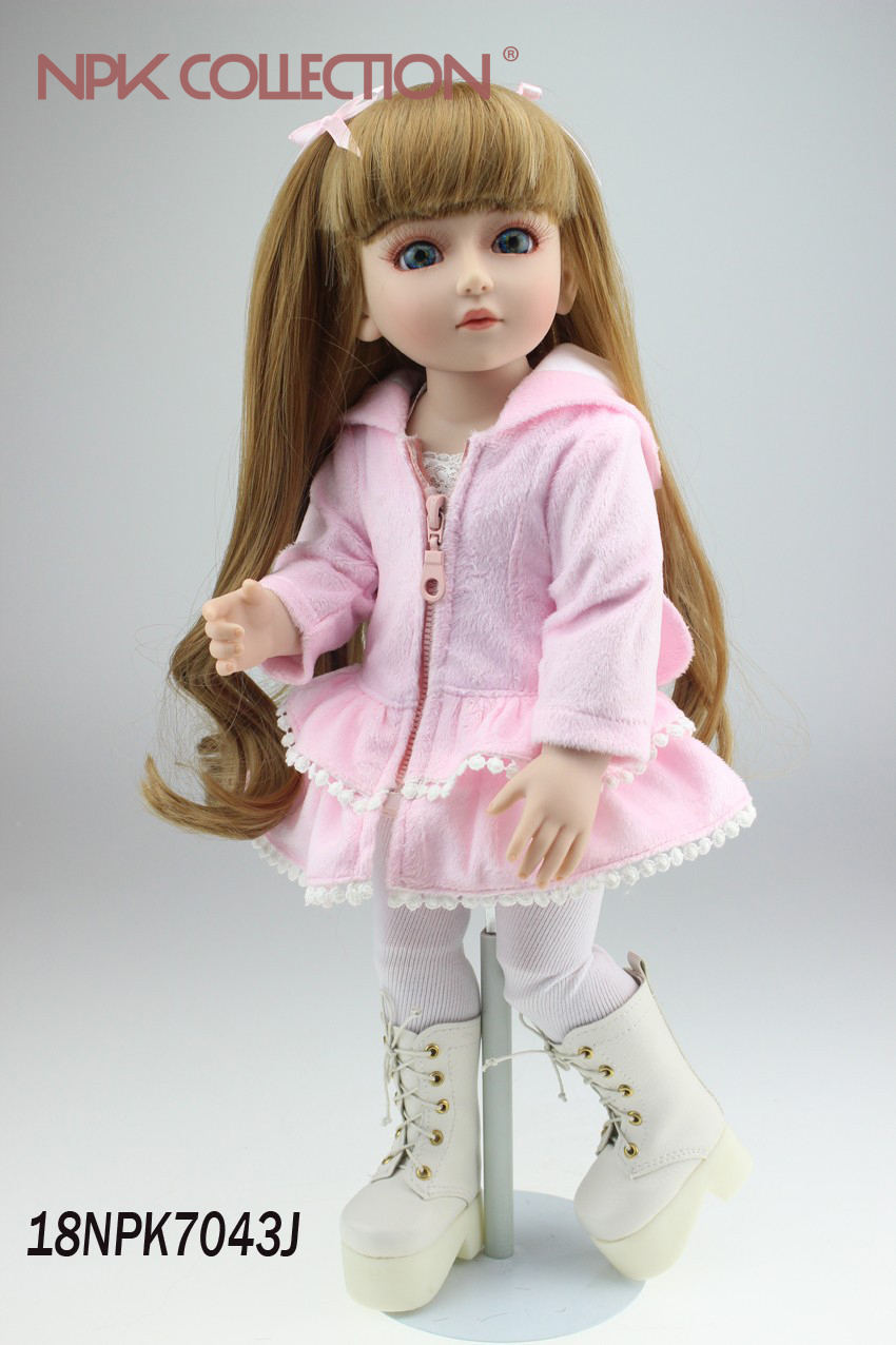 NPKCOLLECTION SD/BJD Baby Doll Handmade Soft Silicone Vinyl Reborn Dolls Realistic 18inch Doll Toys for Children Christmas Gift 18inch handmade full silicone vinyl sd bjd doll reborn with professional design clothes for dolls must be the best gift of kids