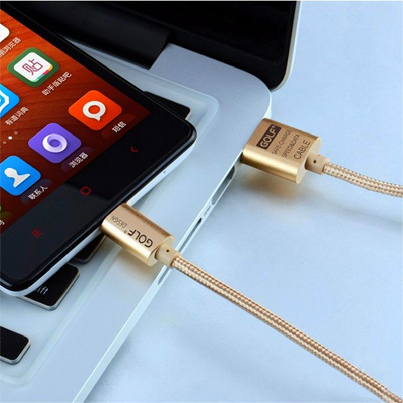 GOLF 1m 2m 3m Metal Braided Fast Charging USB Data Sync Charger Cable For iPhone 5 5S 6S 7 8 Plus X Samsung S6 S7 Edge LG G3 G4