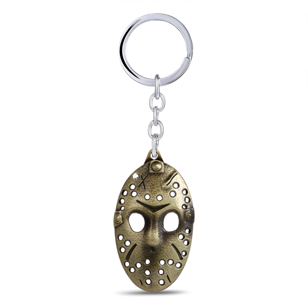 MS JEWELS Movie Fans Gifts Jewelry Friday the 13th Mask Keychain Bronze Metal Key Rings For Present Chaveiro 2 Colors