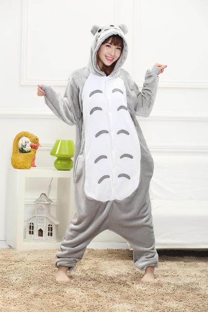 Mujeres de los pijamas para adultos ropa de dormir de Franela pijamas Animal Totoro Totoro femmei/mujer pijamas enteros de animales