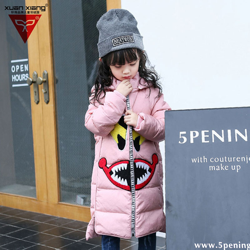 Children's Girl Down Hooded Jackets Long Version Fashion Cartoon Outerwear Warm Coats Winter Clothing For Girl School Clothes fashion girl thicken snowsuit winter jackets for girls children down coats outerwear warm hooded clothes big kids clothing gh236