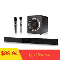 WENGE 60W Wall Mounted Home Theater TV Soundbar Speakers + Home Subwoofer Wireless Karaoke Microphone Speaker with Remote