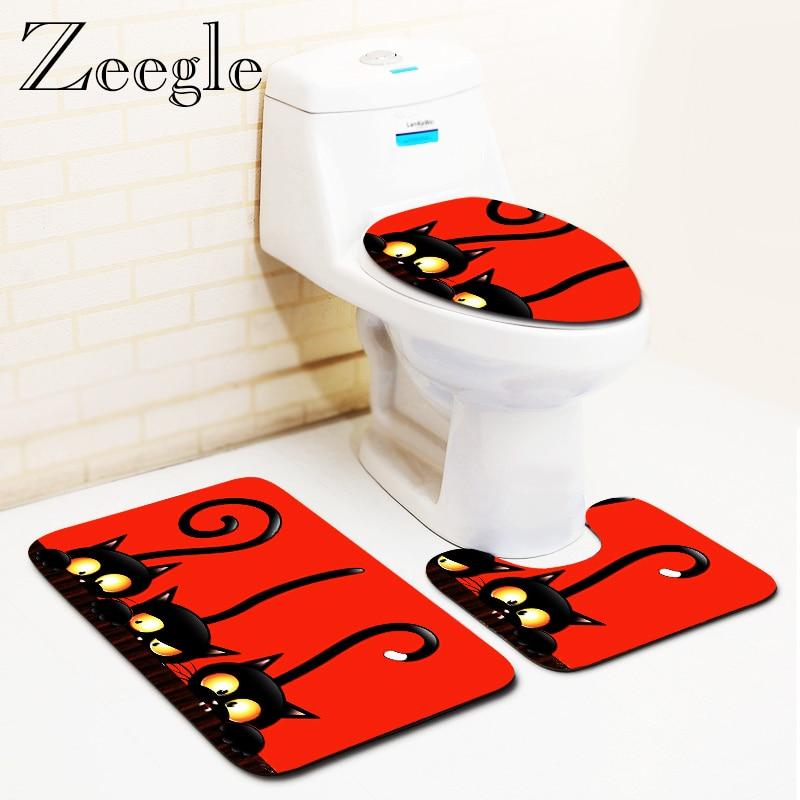 Cartoon Bathroom Floor Mat Toilet Rugs Shower Room Bath Mat Anti-slip Flannel Bath Rugs For Toilet Absorbent Bathroom Carpet Mat
