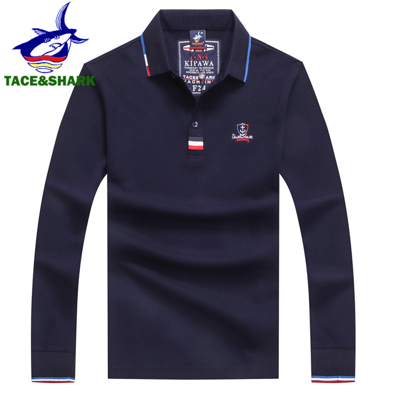 TACE&SHARK Brand High Quality Embroidery Tops Solid Color Polo Men's Long Sleeve Polo Autumn Fashion Polos Men's Polo Shirts