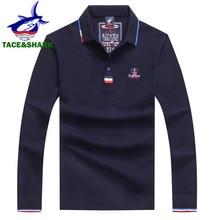 Мужская рубашка поло TACE & SHARK, Однотонная рубашка поло с длинным рукавом и вышивкой, осень