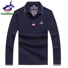 TACE & requin marque haute qualité broderie hauts couleur unie Polo hommes à manches longues Polo automne mode Polos hommes Polos