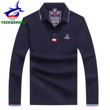 TACE & サメブランド高品質刺繍トップス無地ポロメンズ長袖ポロ秋ファッションポロシャツ男性のポロシャツ