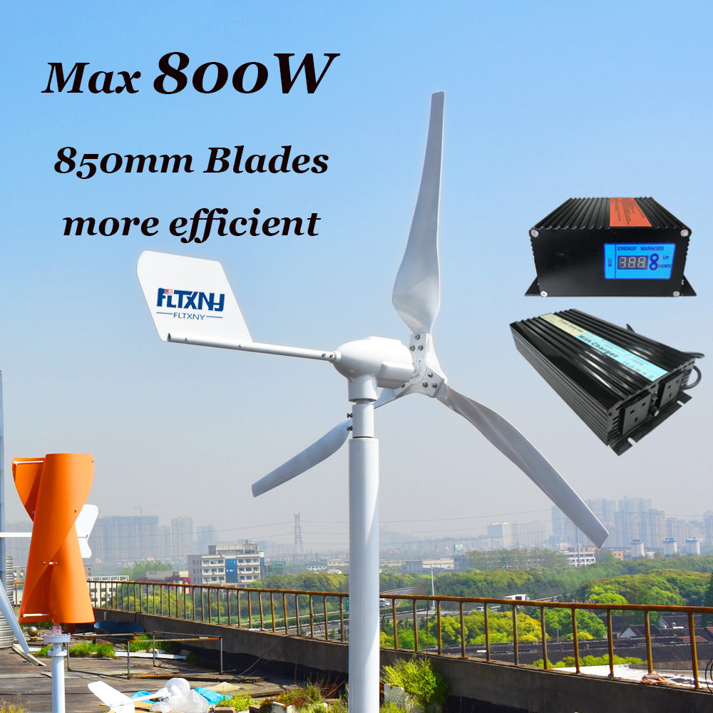 0.6kW horizontal windmill 12v/24v with MPPT 12V 24V automatic recognition wind solar hybrid controller and 1000w Inverter