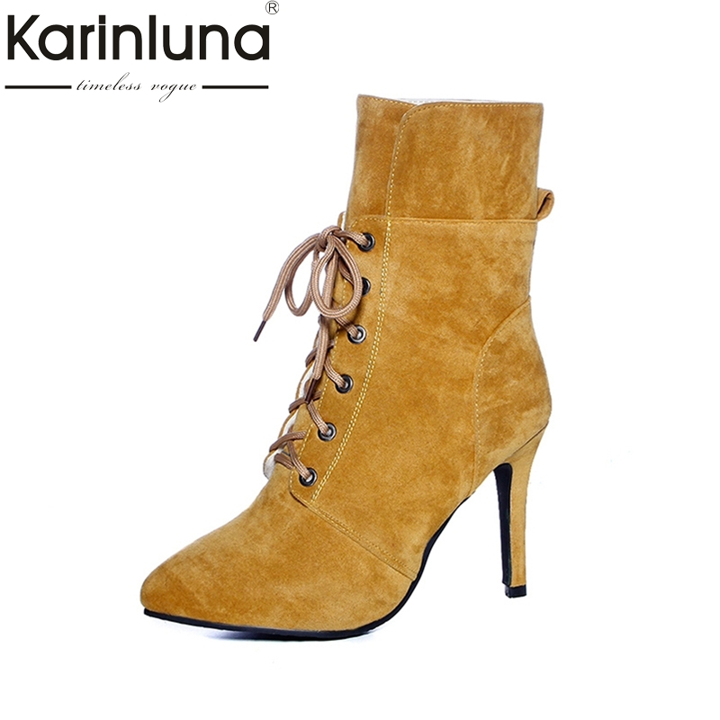 KARINLUNA large Size 34-43 sexy pointed toe women shoes woman lace up high heels plush autumn winter ankle boots top quality pointed toe lace up women ankle boots fashion ladies autumn winter flat heels cuasual boots shoes woman motorcycle short booties
