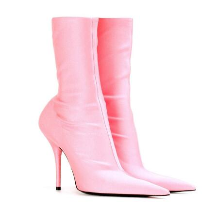 New women spring and autumn satin black/green/pink solid pointed toe high heel ankle boots Ladies sexy thin heel short boots women suede pointed toe high heel ankle boots spring and autumn super high thin heel short boots black red rose red short boots